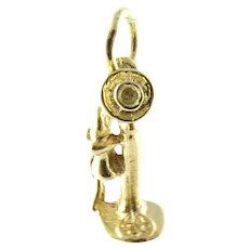 Vintage 14 Karat Yellow Gold Old-Fashioned Candlestick Telephone Charm