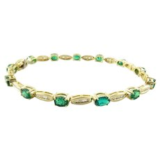 Vintage 14 Karat Yellow Gold Genuine Emerald and Diamond Bracelet