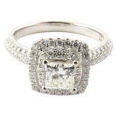 Vintage 18 Karat White Gold Diamond Engagement Ring Size 6.5