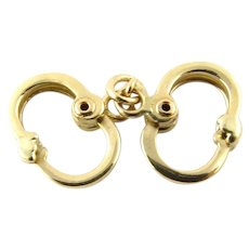 Vintage 14 Karat Yellow Gold Articulated Handcuffs Charm