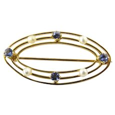 Vintage 10 Karat Yellow Gold Synthetic Sapphire and Pearl Brooch