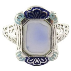 Antique Victorian 14 Karat White Gold and Enamel Ring Size 5.5