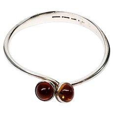 Vintage Bent Knudsen Denmark Sterling Silver Amber Bangle Bracelet