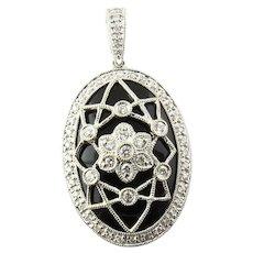 Vintage 18 Karat White Gold, Diamond and Onyx Pendant