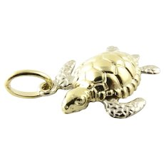 Vintage 14 Karat Yellow Gold Sea Turtle Charm