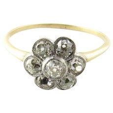 Antique 14 Karat White Gold and Diamond Ring Size 10.25