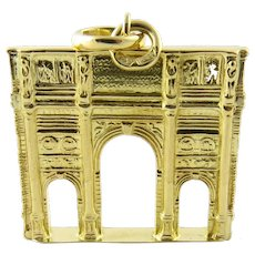 Vintage 18 Karat Yellow Gold Roman Arch of Constantine Pendant