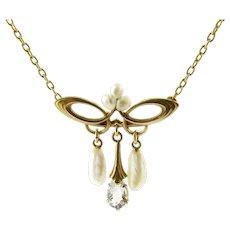 Vintage 14 Karat Yellow Gold Genuine Aquamarine and Pearl Pendant Necklace