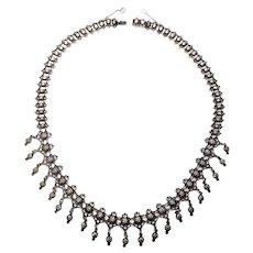 Vintage Sweden 830 Silver Repousse Dangle Necklace
