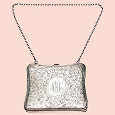Antique Blankinton Sterling Silver Coin Purse, with Monogram