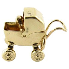 Vintage 14 Karat Yellow Gold Baby Carriage Charm