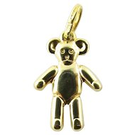 Vintage 14 Karat Yellow Gold Teddy Bear Charm