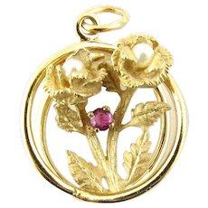 Vintage 14 Karat Yellow Gold, Pearl and Genuine Ruby Rose Pendant