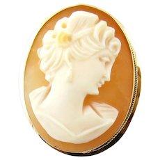 Vintage cameo jewelry ruby lane vintage 18 karat yellow gold cameo pendantbrooch aloadofball Choice Image