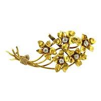 Antique 14K Yellow Gold Diamond Flower Bouquet Brooch Pin
