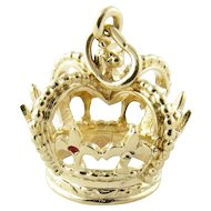 Vintage 14 Karat Yellow Gold Crown Charm