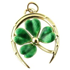 Vintage 14 Karat Yellow Gold Shamrock in Horseshoe Charm