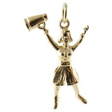Vintage 14 Karat Yellow Gold Cheerleader Charm
