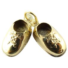 Vintage 14 Karat Yellow Gold Baby Shoes Charm
