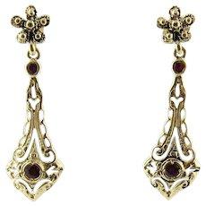 Vintage 14 Karat Yellow Gold and Garnet Earrings