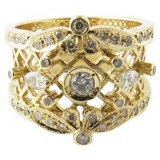 Vintage 14 Karat Yellow Gold and Diamond Ring Size 7.5