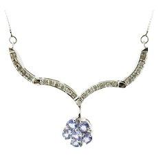 Vintage 10 Karat White Gold Genuine Tanzanite and Diamond Pendant Necklace