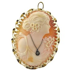 Classic Vintage Gibson Girl Cameo with Diamond Necklace 14K Yellow Gold Pin Pendant