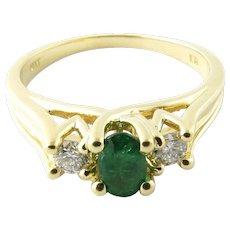 Vintage 14 Karat Yellow Gold Genuine Emerald and Diamond Ring Size 7.25