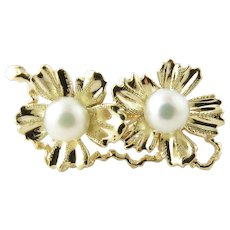 Vintage 14 Karat Yellow Gold and Cultured Pearl Pin/Clip