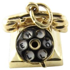 Vintage 14k Gold Charm Rotary Telephone Circa 1950 S Moves