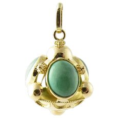 Vintage 18 Karat Yellow Gold and Turquoise Pendant/Watch Fob