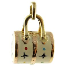 Vintage 14 Karat Yellow Gold and Enamel Designer Handbag Charm