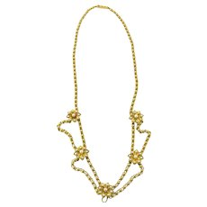 Antique Victorian 14K Yellow Gold Festoon Style Seed Pearl Flower Necklace