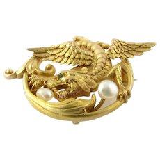 Antique Art Nouveau 14 Karat Yellow Gold Griffin Brooch/Chatelaine
