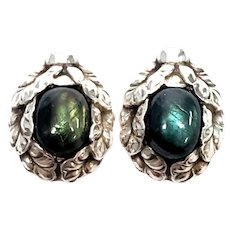 Vintage Georg Jensen Denmark #34 Sterling Silver Screw Back Earrings w/Blue and Green Stones