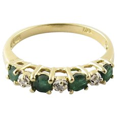 Vintage 14 Karat Yellow Gold Genuine Emerald and Diamond Ring Size 6