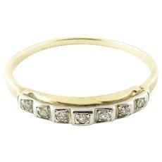 Vintage 14 and 18 Karat Yellow Gold and Diamond Wedding Band Size 7.25