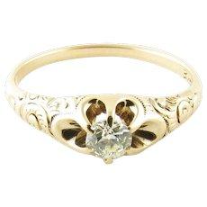 Vintage 14 Karat Yellow Gold Diamond Engagement Ring Size 8.25