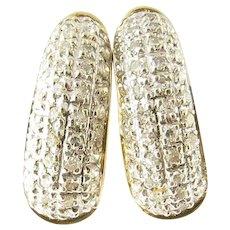 Vintage 14 Karat Yellow Gold Diamond Huggie Earrings