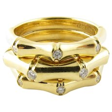 Vintage 18 Karat Yellow Gold and Diamond Leo Pizzo Bamboo Ring Size 6.5