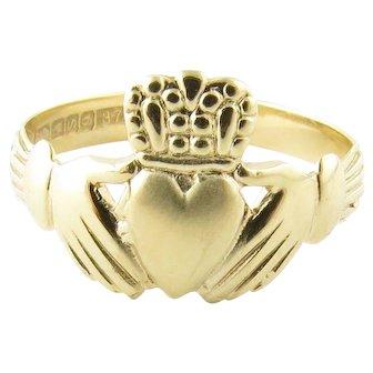 Vintage 9 Karat Yellow Gold Claddagh Ring Size 8.5