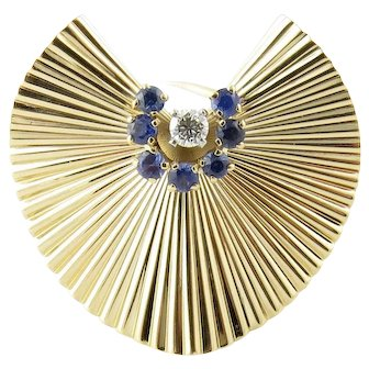 Vintage Tiffany & Co. 14K Yellow Gold Sapphire and Diamond Brooch