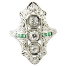 Vintage 14 Karat White Gold Diamond and Emerald Ring Size 8.5