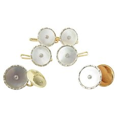 Vintage 9 Karat Yellow Gold Mother-of-Pearl and Diamond Tuxedo Buttons and Cufflinks