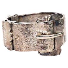 Antique English Sterling Silver Hand Etched Buckle Bracelet