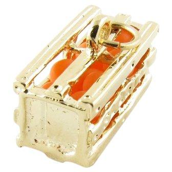 Vintage 14 Karat Yellow Gold Florida Orange Crate Charm