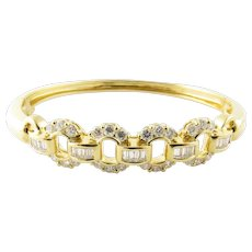 Vintage 18 Karat Yellow Gold and Diamond Bangle Bracelet