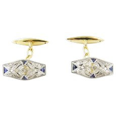 Vintage 14K Yellow and White Gold, Sapphire and Diamond Cufflinks