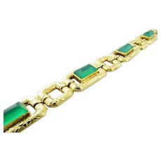 "Vintage 18K Yellow Gold Green Onyx Etched Link Bracelet 7.25"""