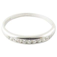 Vintage Platinum and Diamond Wedding Band Size 6.25